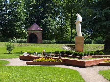 figure, statue of Pope John Paul II at the Shrine of Koden near the Bug River in Poland Stock Photo