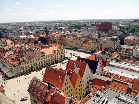 market square in Wroclaw, Poland, the view from the top of the tower of the church of Saint Elizabeth photo