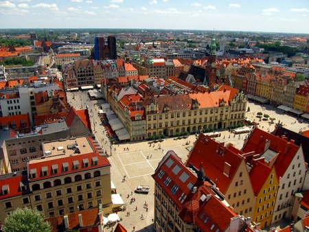 market square in Wroclaw, Poland, the view from the top of the tower of the church of Saint Elizabeth