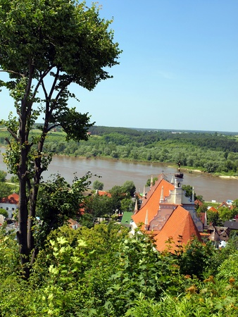 kazimierz: view from the hill of three crosses of the old historic town of Kazimierz Dolny on the Vistula River in Poland
