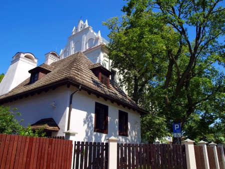 kazimierz dolny: Old buildings on sky background in Kazimierz Dolny, Poland