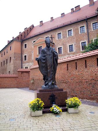 statue of Pope John Paul II in Krakow Wawel Castle in Cracow in Poland