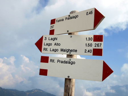 plates with markings mountain trails, the Brenta Dolomites, Italy photo