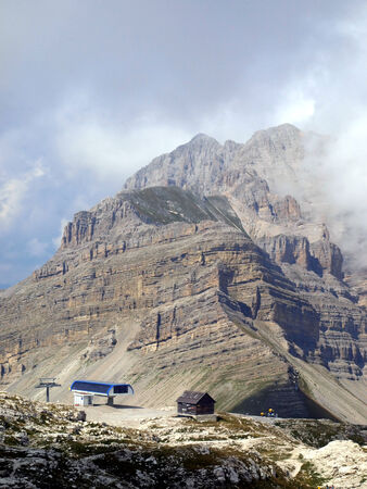 ski lifts in the area of Passe Groste, Groste peak in the Dolomites, Brenta in Italy photo