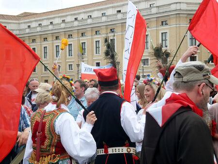ROME, VATICAN - April 28, 2014  the joy of Polish pilgrims to St  Peter