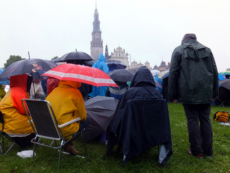 czestochowa: meeting, vigil, prayer, worship in the pouring rain - XIX National Sleep Renewal of the Holy Spirit before the peak of Jasna Gora in Czestochowa, Poland, May 17, 2014