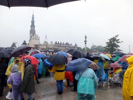 vigil: meeting, vigil, prayer, worship in the pouring rain - XIX National Sleep Renewal of the Holy Spirit before the peak of Jasna Gora in Czestochowa, Poland, May 17, 2014