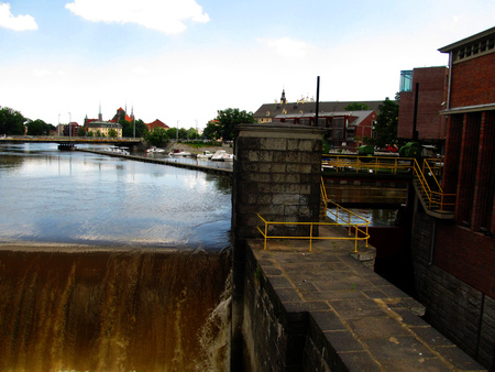 inland waterways: inland waterways, canals and serves on the old canals in Wroclaw, Poland