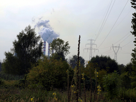 browncoal: brown-coal power plant with chimney giving off large amounts of gas