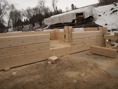 carpenter's sawdust: building log houses rectangular piece of wall