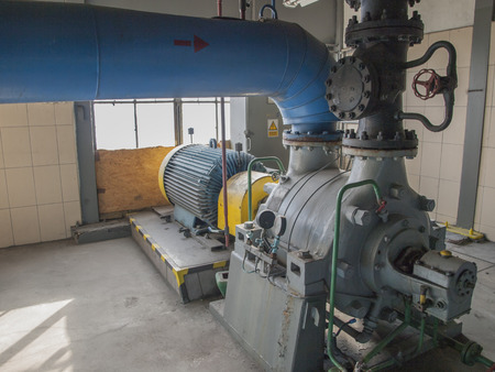 clutch cover: ater pump with large electric motors built into an industrial installation