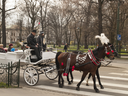 grizzle: KRAKOW, POLAND - March 29, 2015: Horse carriage on the streets of the city as a tourist attraction