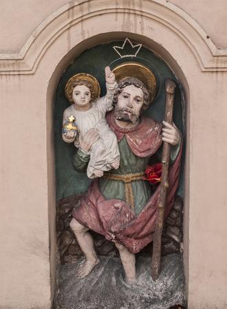 Saint Christopher - figurine of roadside shrines in Krakow, Poland