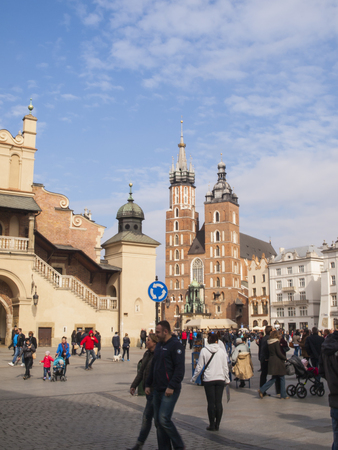 assumed: KRAKOW, POLAND - March 29, 2015: hurch of Our Lady Assumed into Heaven (also known as St. Mary Editorial