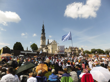 czestochowa: CZESTOCHOWA, POLAND - May 16, 2015: Vigil Catholic Charismatic Renewal meeting Czestochowa Poland, in front of Jasna Gora,  Anniversary, 40 years old Renewal in Poland, May 16, 2015,