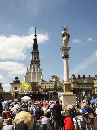 16 years: CZESTOCHOWA, POLAND - May 16, 2015: Vigil Catholic Charismatic Renewal meeting Czestochowa Poland, in front of Jasna Gora,  Anniversary, 40 years old Renewal in Poland, May 16, 2015,