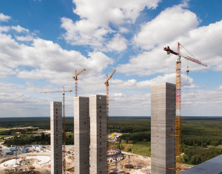 high industrial: construction of high industrial facility in the initial phase Stock Photo
