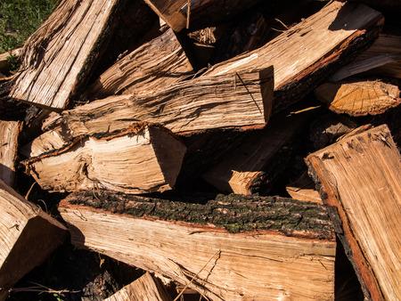 biomass: oak cut into pieces as fuel, biomass