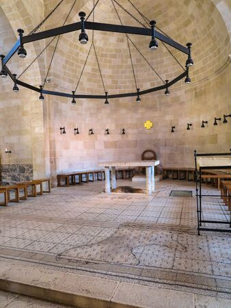 multitude: Interior of The Church of the First Feeding of the Multitude at Tabgha, near Capernaum, Israel Editorial