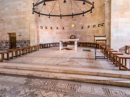 first miracle: Interior of The Church of the First Feeding of the Multitude at Tabgha, near Capernaum, Israel Editorial