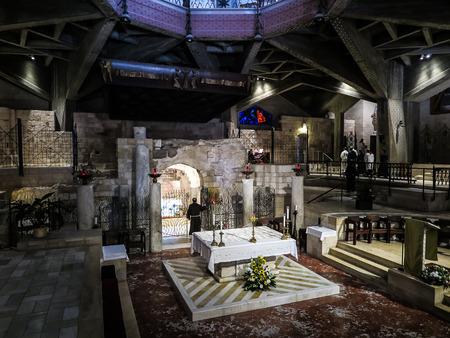 holiest: NAZARETH, ISRAEL July 8, 2015; inside the Basilica of the Annunciation. Nazareth, july 8, 2015