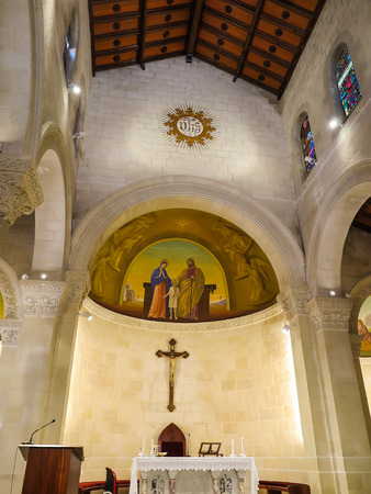st  joseph: NAZARET, ISRAEL, July 8, 2015: inside the Church of St. Joseph in Nazareth, Israel