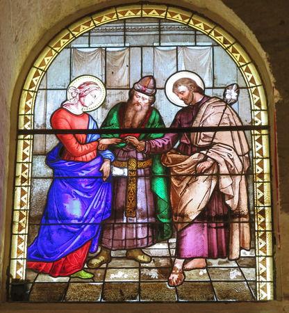 st  joseph: Marriage of St. Joseph and Mary, stained glass window of the Church of St. Joseph in Nazareth, Israel Editorial