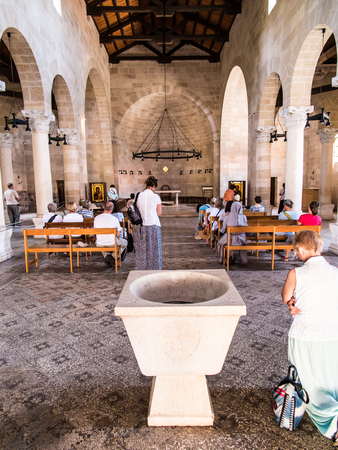 first miracle: TABGHA, ISRAEL 9 July 2015: Interior of The Church of the First Feeding of the Multitude at Tabgha, near Capernaum, Israel