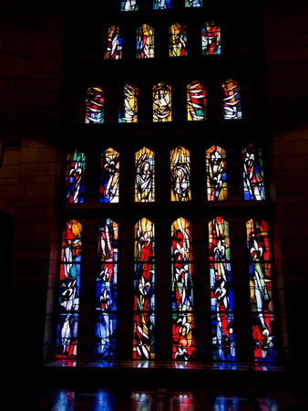 annunciation of mary: NAZARETH, ISRAEL July 8, 2015; colored stained glass inside the Basilica of the Annunciation in Nazareth, Israel, july 8, 2015