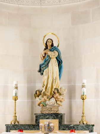 st  joseph: NAZARET, ISRAEL, July 8, Statue of Mary, Mother of God in the Church of St. Joseph in Nazareth, Israel