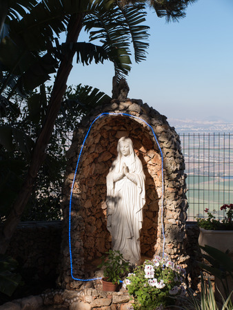 prophet: the statue of Mary near the monastery Muhraqa on Mount Carmel, in the place of the Prophet Elijah fighting, Israel