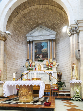 altar in the church of the first miracle, Kefar Cana, Israel Editorial