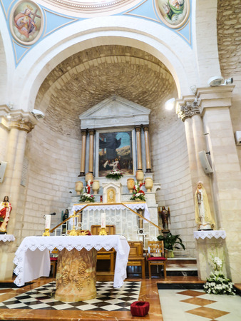 first miracle: altar in the church of the first miracle, Kefar Cana, Israel Editorial
