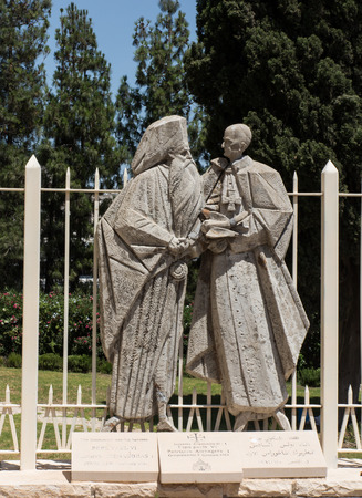 nazareth: NAZARETH, ISRAEL-July 08, 2015: statue of Pope Paul VI and Patriarch Atenogoras I that is next to the Basilica of the Annunciation in Nazareth, Israel. Dialogue between religions
