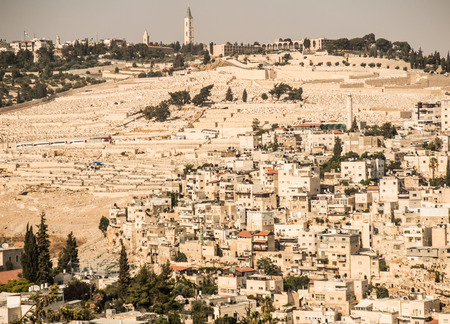 mount of olives: Panorama overlooking the Old City of Jerusalem, Israel, including the  Mount of Olives.