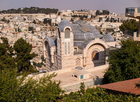 church window: A view of Church of St. Peter in Gallicantu on Zion Mount in Jerusalem Old city area, Israel Stock Photo