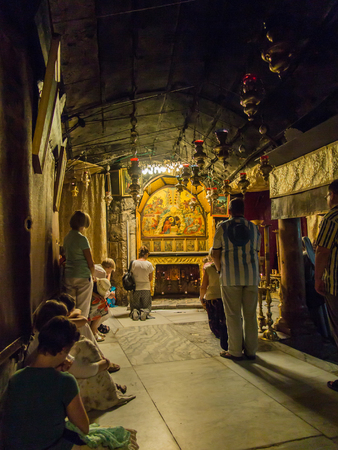 BETHLEHEM - JULY 12, 2015, ISRAEL: The traditional site of the birth of Jesus in Bethlehems Church of the Nativity, Bethlehem, Israel on July 12, 2015.