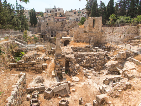 ancient buildings: Ancient Pool of Bethesda ruins. Old City of Jerusalem, Israel. Stock Photo