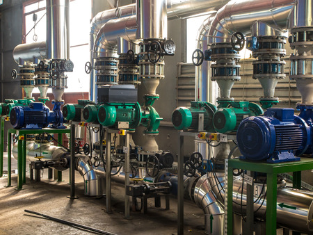 water plants: various pumps, valves and piping hot and cold water