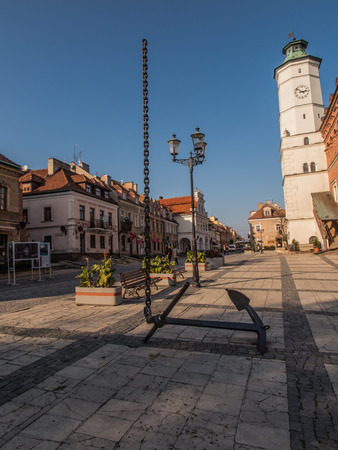 polska monument: Anchor and chain disappearing into the sky. Central Square. Sandomierz. Poland Editorial