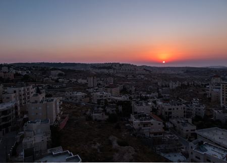 palestinian: view of sunrise over the new part of Bethlehem, Palestinian Authority Stock Photo