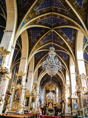carpeting: SANDOMIERZ, POLAND 16 October, 2015 .: The interior of the cathedral basilica of the Nativity of the Blessed Virgin Mary in Sandomirzu, Poland Editorial