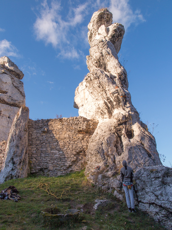 ogrodzieniec: practice climbing on the rocks of the Jura in Ogrodzieniec in Poland