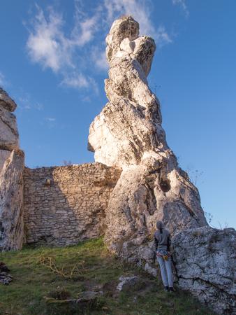 jura: practice climbing on the rocks of the Jura in Ogrodzieniec in Poland