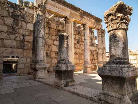 synagogue: Reconstruction white synagogue in Kafarnaum, Israel