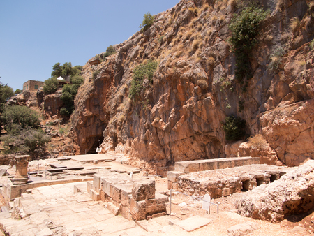 banias: Architectural antiquities in natural reservation of Hermon river (Banyas) - Cult center of the God Pan, north of Israel