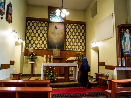 adolf: SIEDLEC, POLAND, November 22, 2015 .: Chapel of the Blessed soul of Christ the Lord in Siedlcu with a picture of Adolf Hyla, Poland