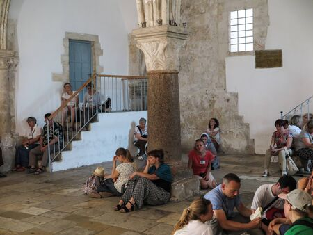 the feast of the passover: Jerusalem , Israel - July 13 . 2015 : Cenacle (Room of the last supper) where Jesus and his disciples held the Passover feast - the Last Supper