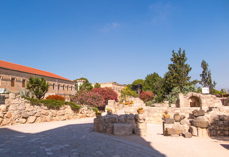 green cross: The monastic buildings near the church on Mount Tabor, Israel Stock Photo