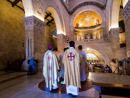 bible altar: MOUNT TABOR, ISRAEL, July 10, 2015: Inside the Church of the Transfiguration on Mount Tabor in Israel, architectural design Antonio Barluzzi